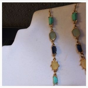 Nwt Anthro Mixed Stone dangles, 14k plated